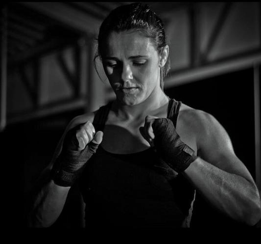 Michelle Nicolini preparing to fight